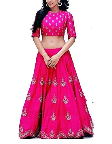 8. Purva Art Womens Royal Zoya Pink Silk Lehenga Choli WIth Dupatta Set (RZPLC_852_Soft Net_Lace Border)