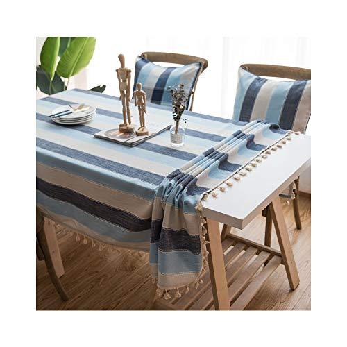 Tischdecken Home Decoration Gestreifte wasserdichte Tischdecke Mediterraner Wind Rechteckiger Couchtisch aus Baumwolle und Leinen (Color : Blue, Size : 100 * 140)