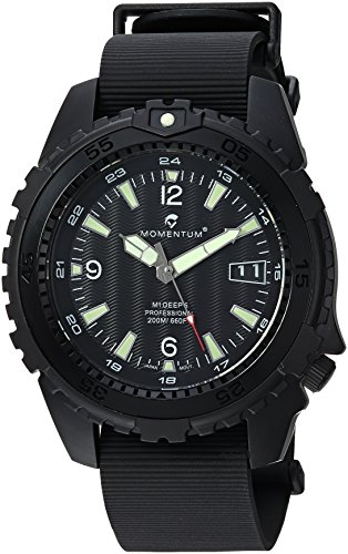 Momentum Men's 'Deep 6 Night Vision' Quartz Stainless Steel and Rubber Casual Watch, Color:Black (Model: 1M-DV68B11B)