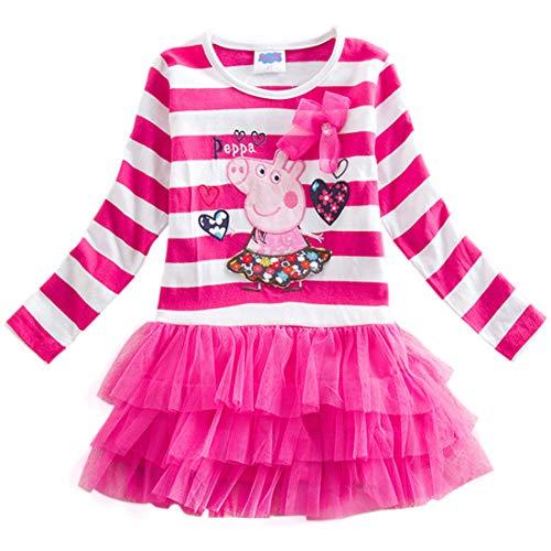 Uni-Wert Mädchen Kleid Süß Kurz Kleid Streifen Baby Mädchen T-Shirt Ballett Kleid Tutu Prinzessin Kleid Girl Kleider -