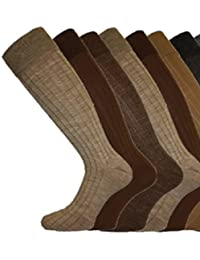MENS LONG Ribbed WOOL Mix SOCKS Comfy Grip 6-11 3 Pack Browns