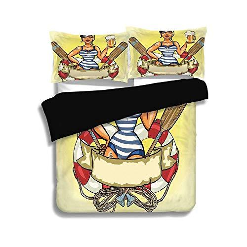 Pin Up Sailor Girl Kostüme - Schwarzer Bettbezug-Set, Mädchen, Pin Up Sexy