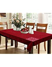 Kuber Industries Dining Table Cover Maroon Cloth Net For 6 Seater 60*90 Inches