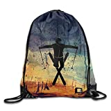 Freestyle Skier Drawstring Sport Bag, Large Lightweight Sackpack Backpack for Men and Women