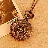 Das alte Rom Kompass Muster Quarz Analog vintage antiken Karte Taschenuhren Uhr Herren 78cm Kette steampunk ( Farbe : Bronze )