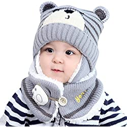 Pañuelos de bebé BBsmile Baby Boy Girl Hair Ball Earbud Hat Child Print Knit Hats +Scaf (Gris, un tamaño)