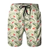 MIOMIOK Mens Beach Shorts Swim Trunks,Hawaiian Aloha Nature Pattern with Rainforest Elements Palm Branches Hibiscus,Summer Cool Quick Dry Board Shorts Bathing SuitM