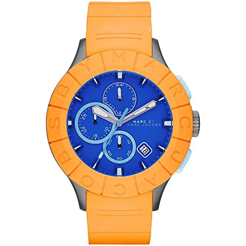 Marc Jacobs MBM5545 44mm Stainless Steel Case Orange Rubber Mineral Men's Watch