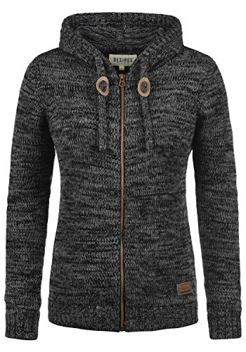 DESIRES Philadelphia Damen Winter Strickpullover Troyer Grobstrick Pullover mit Kapuze, Größe:M, Farbe:Black (9000)