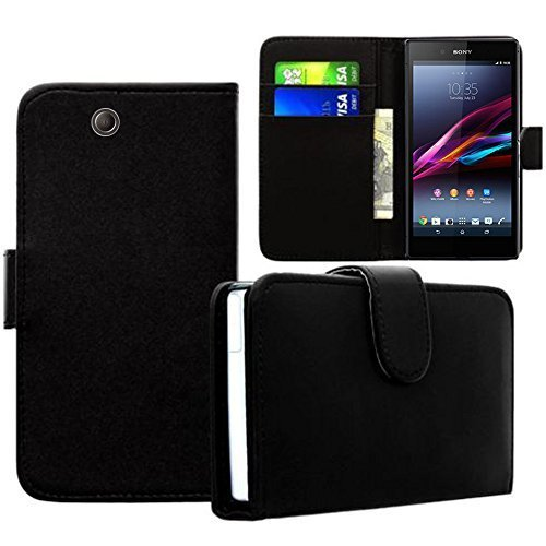 Hülle Cover Etui wallet-Etui Kunstleder für Sony Xperia Z Ultra- XL39H C6802/ LTE C6806 C6833 - SCHWARZ