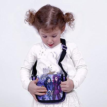 PERLETTI – Disney Descendants Bolso Bandolera de Niña Estampado Mal y Evie Los Descendientes – Practica Bolsa Cruzada Messenger Chica Joven de Viaje con Cierre Frontal de Color Morado -14×15,5×4 cm