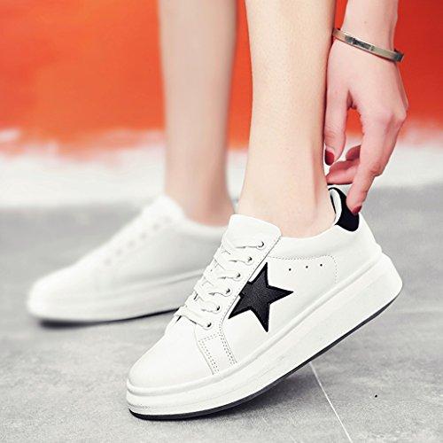 HWF Scarpe donna Primavera piccolo bianco sportivo piattaforma casual fondo spesso piatto scarpe scarpe da donna studente femminile ( Colore : White black , dimensioni : 39 ) White Black