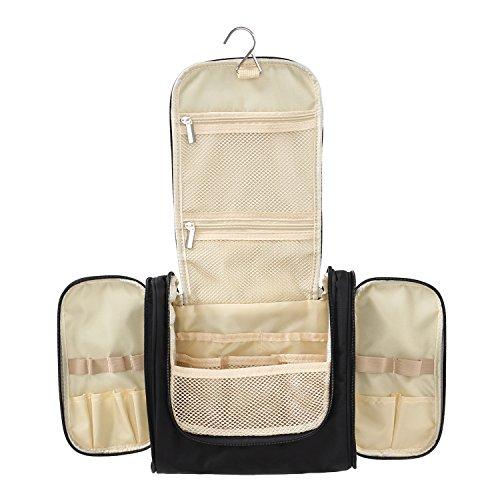 tinxi® Kulturbeutel zum Aufhängen für Damen und Herren, Kulturtasche aus 420D Polyester+PVC Rückseite+Metall Haken, Waschbeutel, Waschtasche, 25 x 22 x 11cm, Schwarz (Urlaub Hat)
