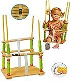 alles-meine.de GmbH Gitterschaukel mit Gurt / Schaukel aus Holz incl. Name - Babyschaukel Kinderschaukel - Sicherheitsgurt Holzschaukel Baby Kinder - Kleinkindschaukel verstellbar - Holzgitterschaukel für Innen und Außen