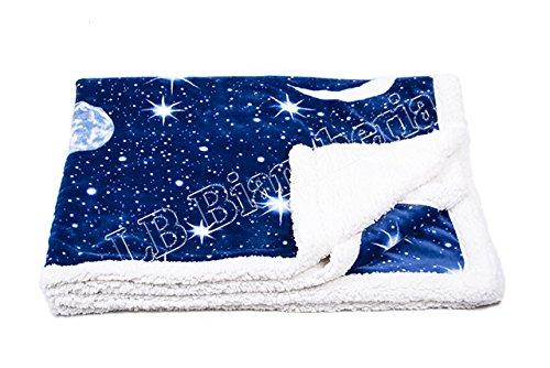 """Lovely Home - Coperta 2 piazze matrimoniale Plaid agnellato cm 210X240 """"Planet"""" Moon Luna e Stelle"""