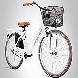 Scalatore Amsterdam 28pollici bici da donna, Cestino + luce, design retrò, Bianco lucido