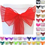 TtS 10pcs 22cm x 280cm Organza Sashes Chair Cover Bows Sash Wider Sash Fuller Bows for Wedding Party Birthday Decoration Red