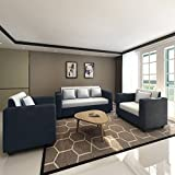 Bharat Lifestyle Tulip Five Seater Sofa Set 3-1-1 (Black)