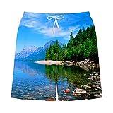 Pantaloncini Quick Dry Uomo Beach Pants 3D Riverside Stampato bauli da Nuoto per Esterno da Surf per Il Tempo Libero Vacanza Vacanze Mare, XXL