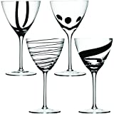 LSA International 400 ml Jazz Wine Goblet, Black (Pack of 4)