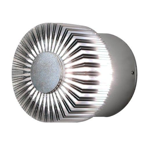 Konstsmide Monza 7900-310 Wandleuchte HighPowerLED / B: 9cm T: 8cm H: 9cm / 1x3W / IP44 / Aluminium / silbergrau - Monza 3 Licht