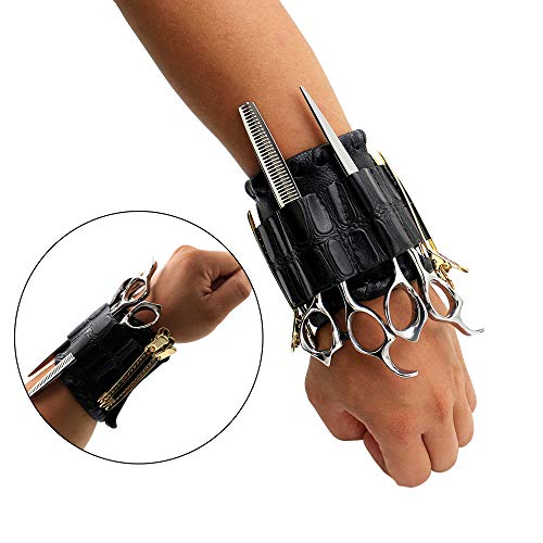 NACHEN Supermächtig Klettverschluss Magnetic Armband Handgelenk Taschen Trendige Friseur Friseur Scheren Tasche,Black,25 * 9.3CM