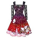 FRAUIT Damen Weihnachts Kleid Spitze Lange Ärmel Schulterfreies Cocktailkleid Weihnachten Druck Jerseykleid Skaterkleid Knielang Elegant Festlich Asymmetrisches Partykleid