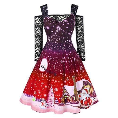Frauen Weihnachten Gedruckt Spitze Kalte Schulter Jahrgang Kleider Damen Langarm Reißverschluss Hohe Taille Party Kleid