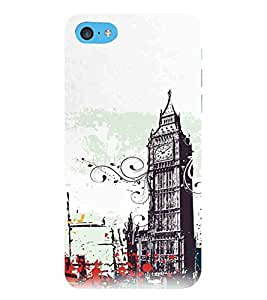 For Apple iPhone 5c clock building, city, building, clock, color fluid, nice Designer Printed High Quality Smooth Matte Protective Mobile Pouch Back Case Cover by BUZZWORLD
