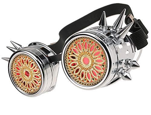 MFAZ Morefaz Ltd Welding Cyber Goggles Schutzbrille Schweißen Sonnenbrille Steampunk Goth Round Cosplay Brille Party Fancy Dress (Silver Spikes Design)