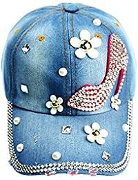 Idopy Sol Sombrero Gorra de Béisbol con Tachuelas de Diamante Ajustable de  la Mujer Denim Jean 012503ca8c2