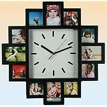 Orologio a parete con 12 porta foto in plastica 40 x 40 x 4 cm