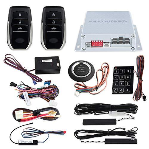 Push-button-backup (EasyGuard ec002-t2-ns PKE Auto Alarm System mit Proximity Sensor Lock Unlock Fernbedienung Engine Start Push Start Button Touch Passwort Eintrag Backup Vibration DC12V)