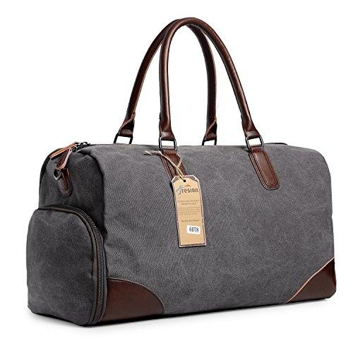 Groß Weekender Taschen Reisetasche Canvas Retro Leder Handgepäck Sporttasche mit Schuhfach für Herren Damen Outdoor Gym Grau