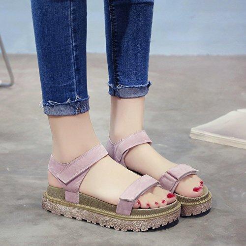RUGAI-UE Donne sandali estivi fondo spesso scarpe Roma Pink