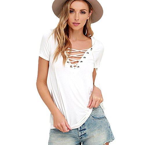 meinice Lace-up maglietta con collo a v White Medium
