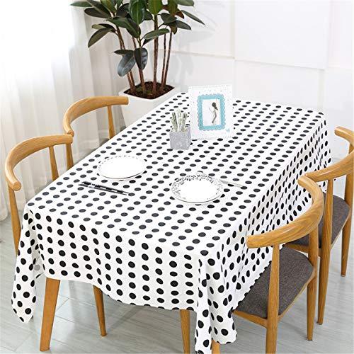Grecal INS-Stil Moderne minimalistische schwarz-weiße Polka Dot Baumwolle Tischdecke Abwischen Party Party Dekoration Picknick Café Restaurant Verwendung.(weiße 100 * 140cm)