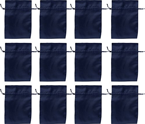 12 Satin-Beutel dunkelblau, marine 15 x 10 cm (Satin-beutel)