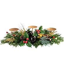 Red & Gold Decorated Table Centre Piece with 3 Pillar Candle Holder Christmas Decoration - Size 52cm