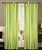 Green Yellow STRIP Door curtains setof 2...