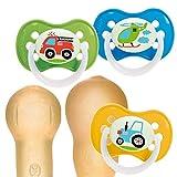 Canpol babies 3St Latex Kirschform Rund Fahrzeuge Vehicles Beruhigungssauger (B (6-18M))