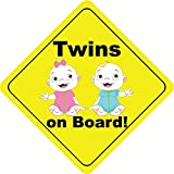 Twins On Board Boy and Girl Smile Cute Funny Baby Hochwertigen Auto-Autoaufkleber 12 x 12 cm