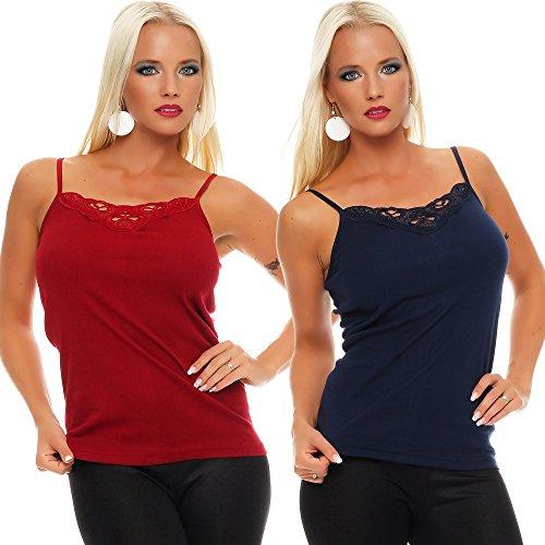 2er Pack Damen Unterwäsche mit Spitze (Unterhemd, Träger-Top, Shirt) Nr. 421 Blau-Rot