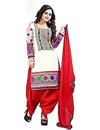 Special Mega Sale Festival Offer C&H White Cotton Semi-Stitched Salwar Suits