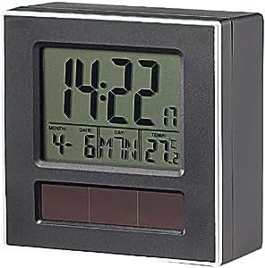 infactory Solar-Funkwecker DCF mit Kalender & Thermometer