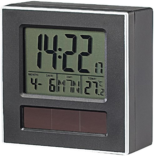 infactory Solar-Funkwecker DCF mit Kalender & Thermometer