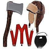 Déguisement accessoires pour adulte de bûcheron avec un chapeau style chapka + des bretelles rouges + une hâche en plastique + une fausse barbe. Idéal pour les fêtes d'Halloween ou les enterrements de vie de garçon. (Avec barbe)