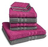 sleepling Castell by 10-Teiliges Handtuch Set 2 Farbig (4 x Handtuch 50 x 100 cm, 2 x Duschtuch 70 x 140 cm, 4 x Waschhandschuh 16 x 21 cm) 100% Baumwolle, Beere/Anthrazit