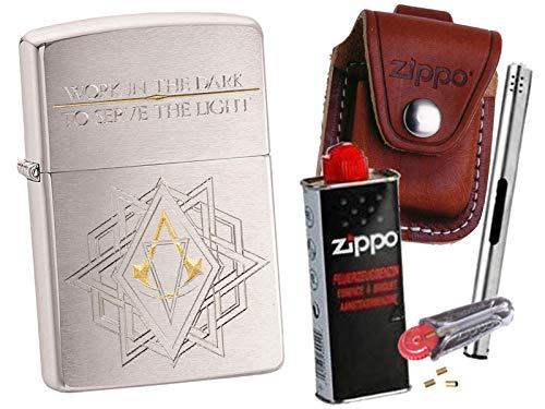 Zippo Assassin´s Creed Work + Zippo Pouch mit Zippo Zubehör und L.B Chrome Stabfeuerzeug (mit Loop Braun Pouch)