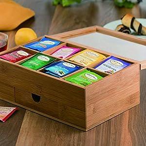 Boîte À Thé En Bois Bambou 8 Compartiments 33 X 20 X 8 Cm Boite de Rangement Avec Couvercle pour Vos Condiments, Sachets de Thé, Épices, Café en Dosettes Décorer Idéale Couleur Bois Naturel